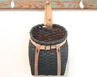 Vintage Child's Adirondack pack basket Green Adirondack pack basket Green backpack basket Small green basket Canvas straps