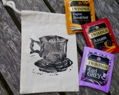 Tea to Go- handprinted drawstring bag with selection of 3 Twinings Teas