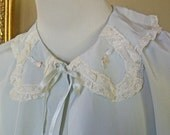 Sweet Feminine Vintage Bed Jacket - Pale Baby Blue - White Lace - Classic Lingerie