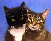 FREE SHIPPING - Custom Dog or Cat Portrait 8x10 Original Acrylic Painting from your digital photo