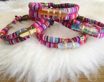 Crystal Bracelet, Rope Bracelet, Fabric Bracelet