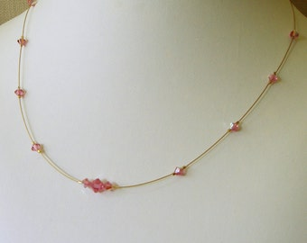 Rose Illusion Necklace, Layering Necklace, Dainty Necklace