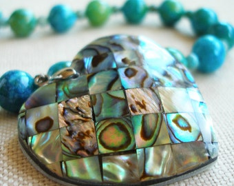Paua Shell Heart Necklace in Rich Blue and Green