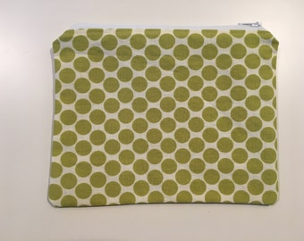 Essential Oil Bag, Reusable Sandwich Bag, Zipper Sandwich Bag, Sandwich Bag - Green Polka Dot