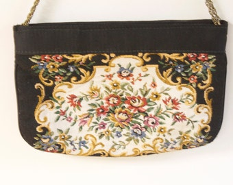 Vintage Tapestry Clutch - 1960s Tapestry Evening purse by Walborg
