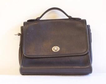 Vintage Black Leather Genuine Coach Purse Handbag