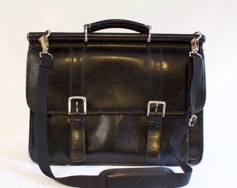 Vintage Black Wilsons Leather Briefcase Attache Messenger Bag