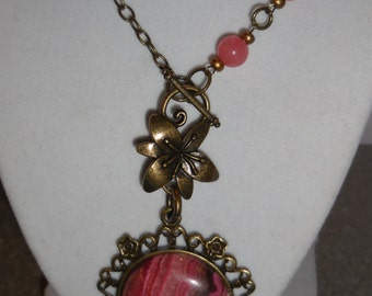 Pink and Antique Brass Necklace