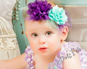 Fabric Flower Headband  Sea Foam Green Aqua Purple Floral Baby Shower Gift flower girl photo prop Newborn Girl Spring Summer Dahlia Tulle