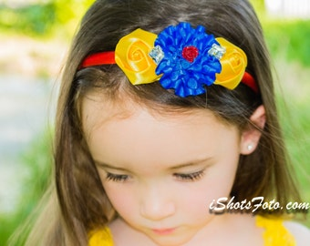 Yellow Blue Red Fabric Flower Headband Little Baby Girl Satin Rosette Skinny Arch Bright First Birthday Outfit Fun Photo Prop rhinestones