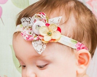Fabric Flower Headband, Baby Girl Floral Lace Victorian Style Shabby, Pink Green Cream, Infant, Newborn Shower Gift, Leaves Dainty Hydrangea