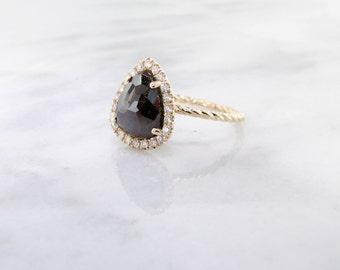 Rose Cut Rough Diamond Ring, Yellow Gold