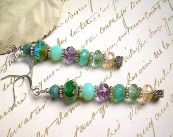 Faceted Picasso Bead And Silver Earrings With Stormy Sea Colors, Long & Dangly