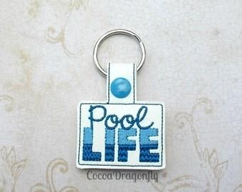 Pool Life Key Fob, Embroidered Key Chain