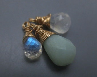 Aquamarine Rainbow Moonstone Gold Filled Wire wrapped Gemstone Trio