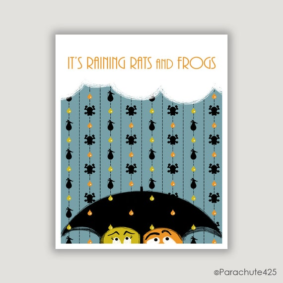 Rain Art Print, funny wall art, Rats and Frogs, cats and dogs pun, April showers, humor art, rain quote, rainy day, rain wall art, weird art