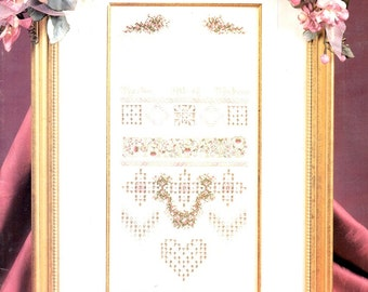 Charity Sampler Romantic Heart Pink Rose Wreath Alphabet Needlepoint Counted Cross Stitch Pulled Thread Embroidery Pattern Craft Leaflet 107