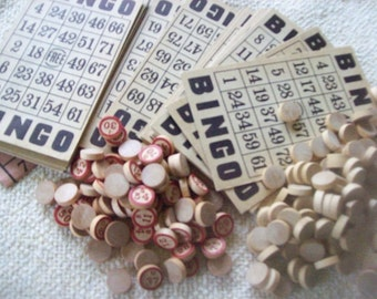 Complete Bingo Game 49 Cards 75 Number Wooden Pieces Plus Wood Marker Pieces Supplies or Game