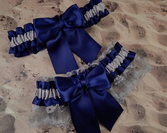 Gray Satin Navy Blue Satin Gray Lace Wedding Bridal Garter Toss Set