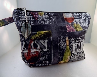 Wine Label Chalkboard Black Makeup Bag Cosmetic Travel Bag Organizer Bag Cute