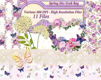 Spring Clipart, Floral Clip Art, Digital Papers, Spring Wreath Clipart