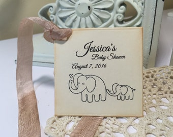 Elephant Party Favor Tags  Baby Girl Baby Boy Mother and Baby Elephant Party Favor Tags Pink Baby Shower ..Set of 10 ECS