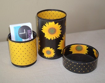 Sunflower Desk Accessories / Pencil Holder / Pencil Cup / Office Desk Organizer / Black and Yellow-Gold Sunflower Office Decor - 863