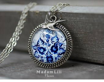 925 Sterling Antique Tile II  Silver Necklace