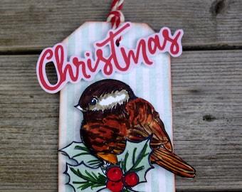 Christmas Bird Ornament Tag