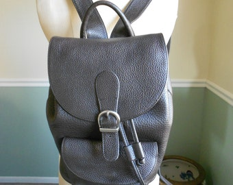 Pebbled Leather Draw String Backpack Bag / Large Leather Backpack