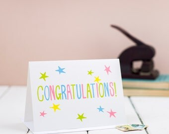 Congratulations Card, celebration, new birth, exam results,  landscape, hand lettered greetings card with pink, yellow, green and blue,