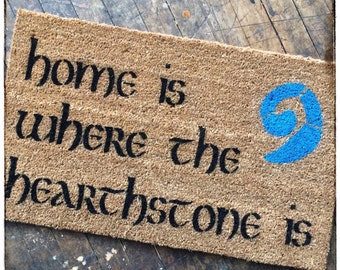 Home is where the hearthstone is doormat warcraft geek stuff