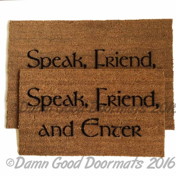 Tolkien - Speak, Friend, and Enter- doormat geek stuff