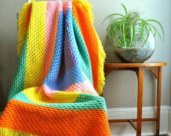 Vintage Afghan Throw Blanket Pastel Rainbow Granny Square