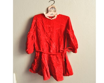 Vintage Girls Dress Red Velvet Drop Waist Holiday