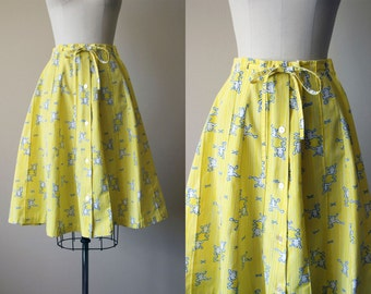 60s Skirt - Vintage 1960s Skirt - Novelty Print Yellow Frog Cotton Full Skirt M - Hopfrog Skirt