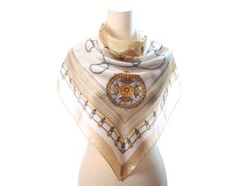 BEIGE Ladies Scarf 80s Equestrian Shawl Vintage Ridding Accessories Neck Scarf White Grey Emblem Print Muffler Neckerchief Unisex Neckwear