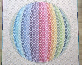 Optical Illusion 3D Rainbow Wall hanging quilt- shadow trapunto quilt