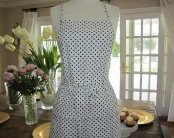 NEW White with Black polka-dots Everyday Apron!