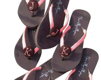 Shop for flip flops and sandals for your bridesmaids. Best selection of colors and sizes. Flat or wedge.