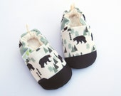 Eco-Canvas Vegan Bear Forest in Mint / Non-slip Soft Sole Baby Shoes / Made to Order / Babies Toddlers Preschool