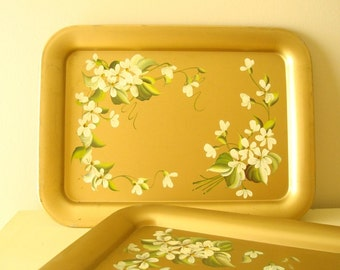 2 gold serving trays, green & cream flowers, Pilgrim Art hand-painted tole trays, Hollywood glamour, classic mid-century home decor