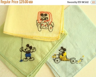 Vintage Mickey Mouse child's hankie, 1930s Disney collectible, boy's handkerchief, choose yellow, green or blue, new baby gift