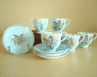 Set of 5 aqua teacups and saucers, 4 oz. demitasse cup & saucer sets, Paragon Bone China England, silver trim, high tea, collectible china