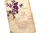 French Menu Antique Original Watercolor Painting Violets Calligraphy & Program