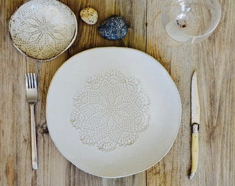 Ceramic dinner plates - White dinnerware plates - set of 4 -ceramic bowl handmade tableware  pottery by Christiane Barbato