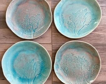 Dinnerware set in light blue glaze - Set of 4 coral design - dinner sets - home dinnerware  handmade ceramic plates - tableware dish set