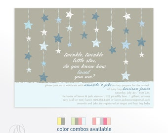 Boy FIRST BIRTHDAY PARTY Invitations, Twinkle, Twinkle Little Star Blue and Gray Kid's Party Invites, Printed or DiY Printable Invitation