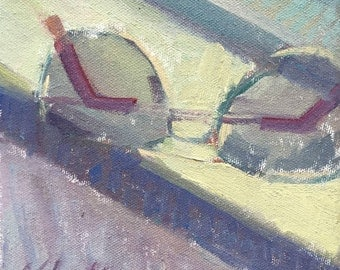 The Glasses He Left Behind - Original Oil Painting of Glasses