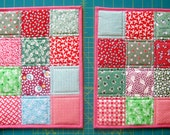RESERVED FOR RENEE, Snack Mats, Mug Rugs, Patchwork Squares, Christmas Colors